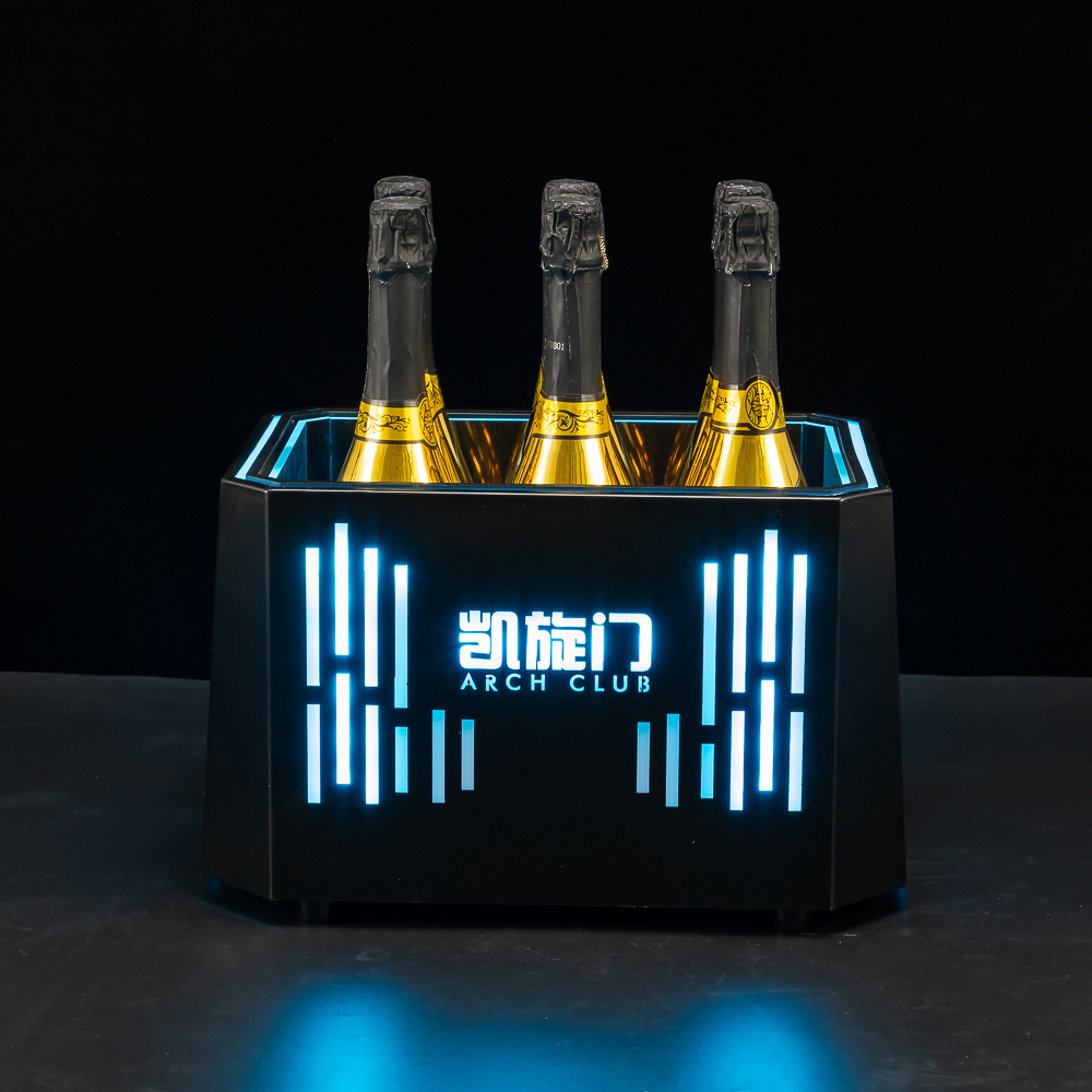 Double Wall Metal Frame Octagon LED Ice Bucket