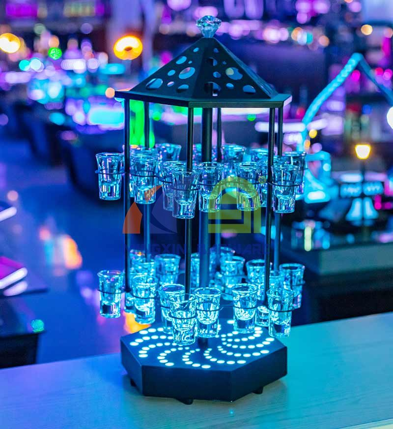 Bird Cage Rotate LED Shot Glass Serving Tray