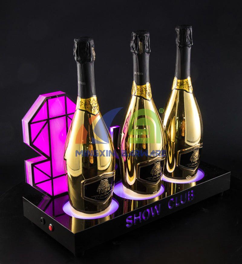Three Bottle Champagne LED Bottle Glorifier with Flashing Lighting