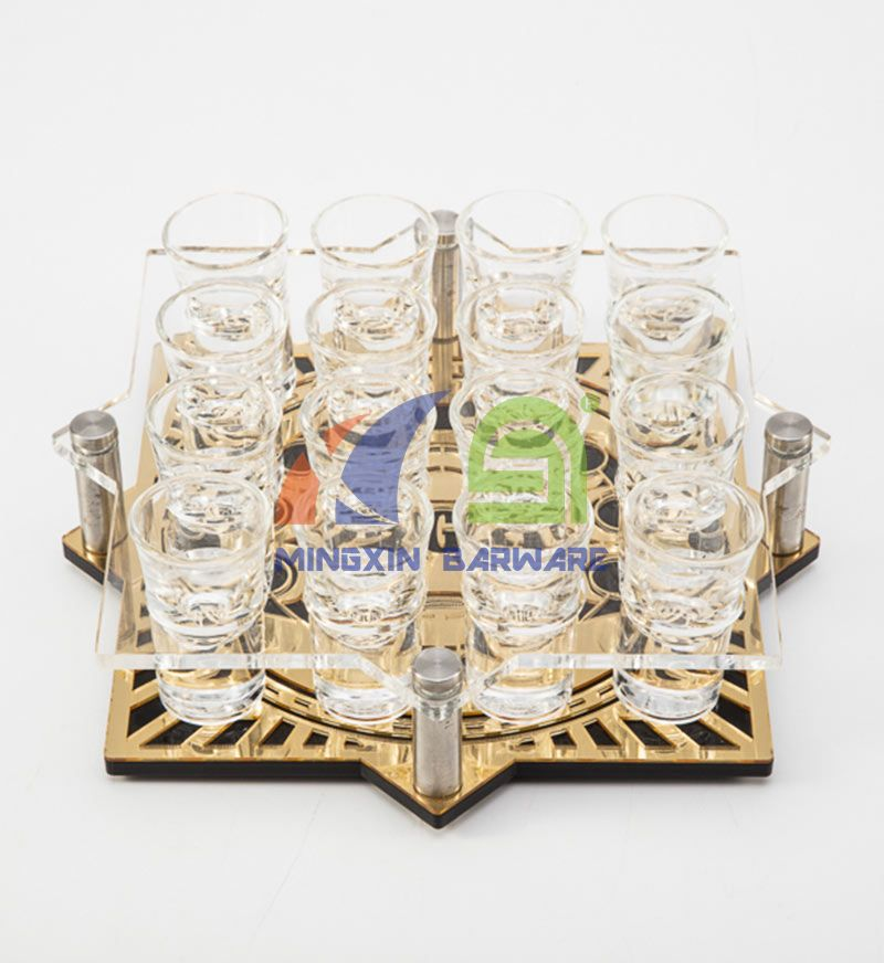 Gold Mirror 16 Shot Glass Serving Tray