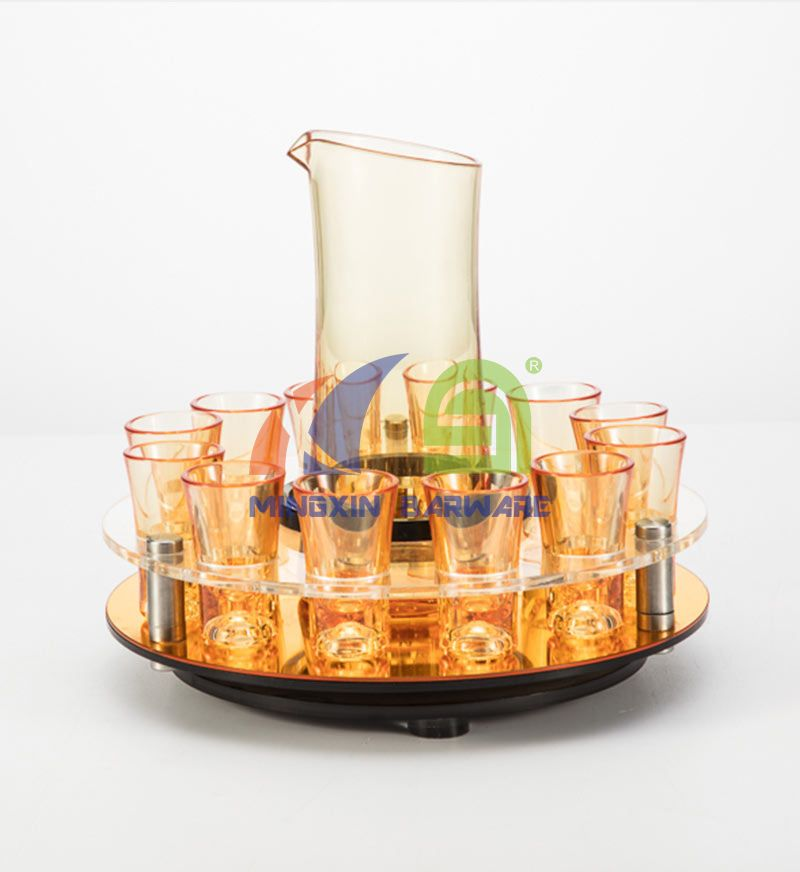 Gold Mirror 12 Shot Glass Rotate Serving Tray with Pitcher