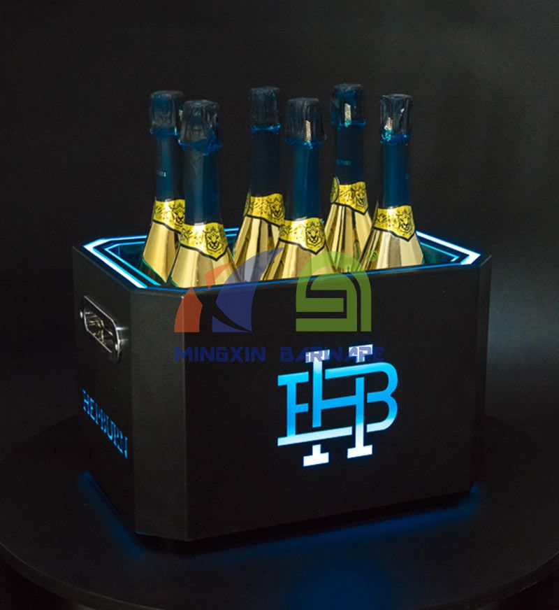 Octagon Double Wall 6 Bottles Metal Champagne LED Ice Bucket