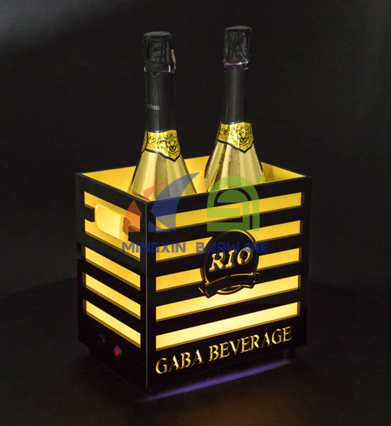 2 Bottles Champagne LED Ice Bucket with Bars