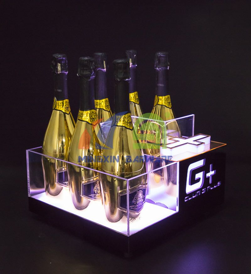6 Bottles Champagne LED Ice Bucket with Gold Mirror