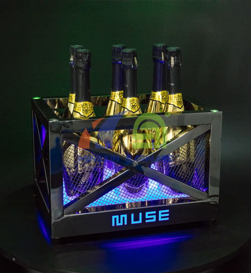 Metal Frame LED Ice Bucket with Laser Lighting