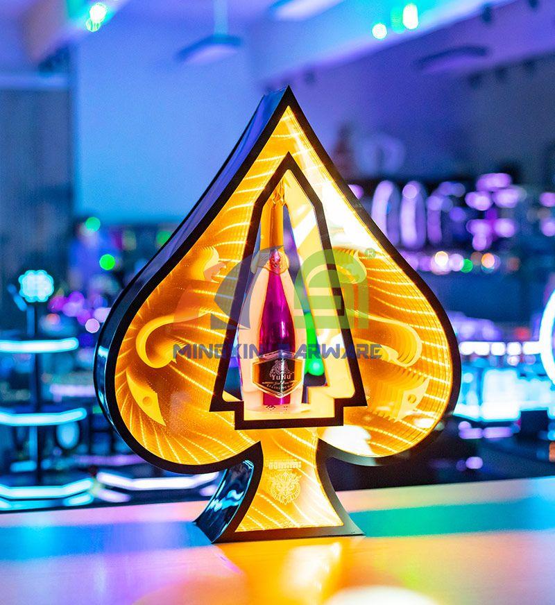 Infinity Mirror Ace of Spade Champagne Bottle Glorifier Presenter