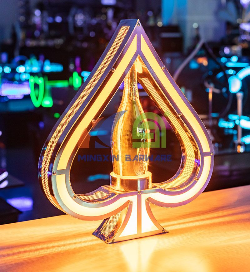 Metal Frame Gold Ace of Spade Champagne Bottle Glorifier Presenter