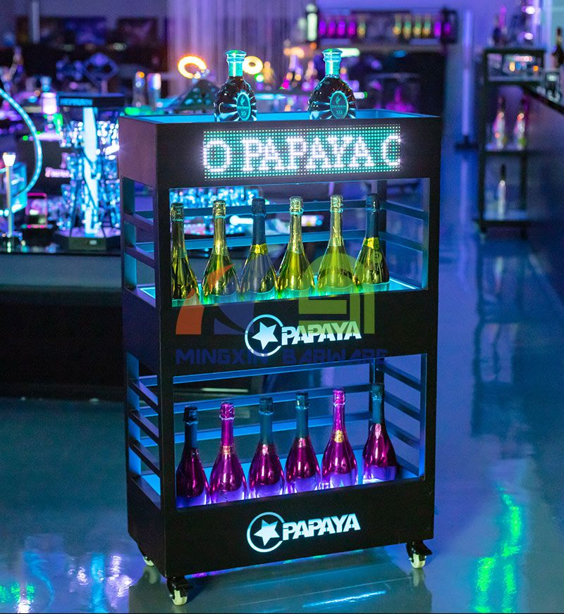 Three Layers Champagne Wine Cabinet Display with LED Screen