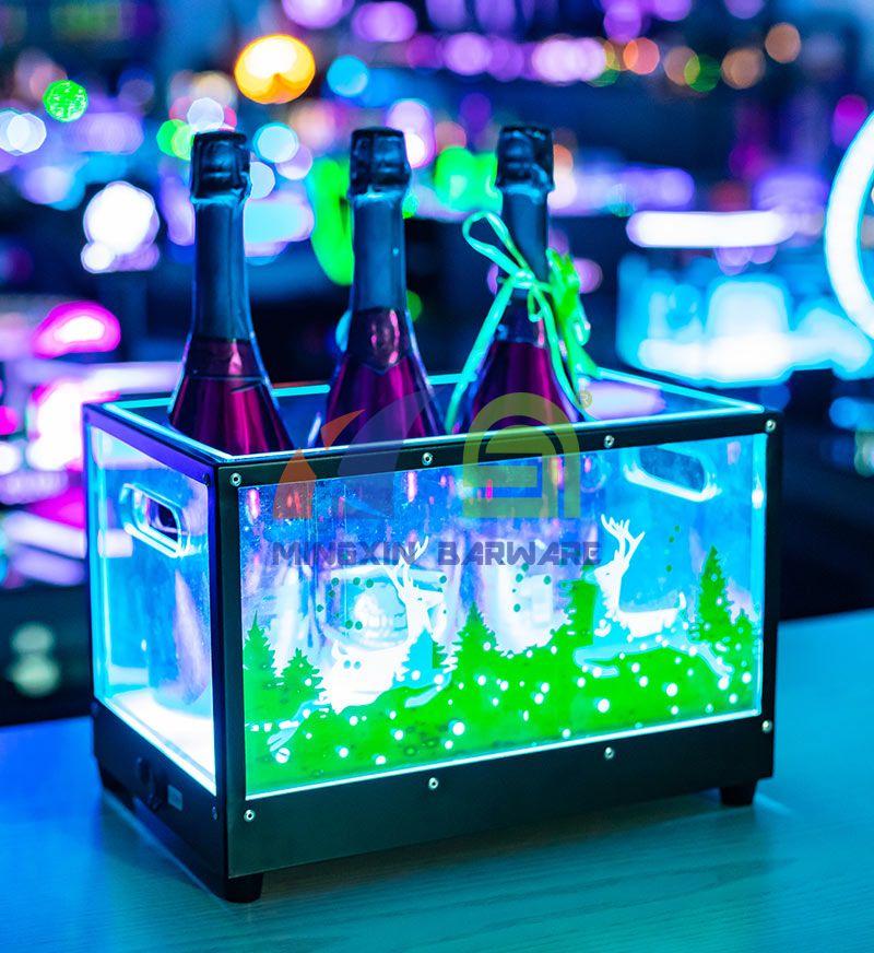 Metal Frame 3 Bottles Champagne LED Ice Bucket