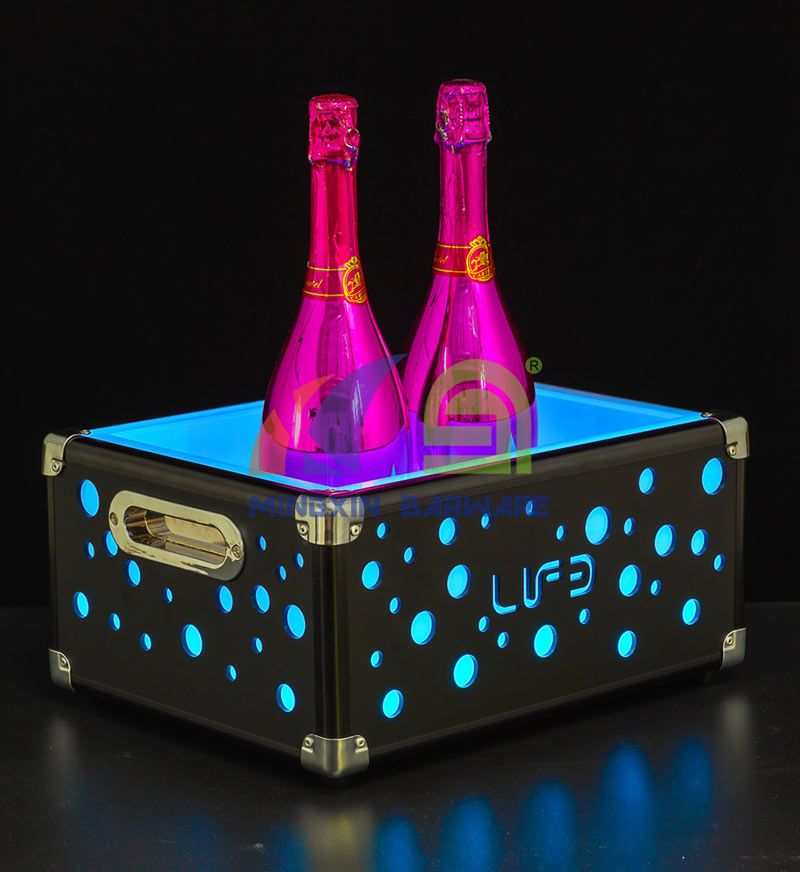 Square Double Wall 6 Bottles Metal Champagne LED Ice Bucket with Bubble Holes