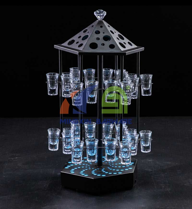 Birdcage Shape Rotate LED Shot Glass Serving Tray