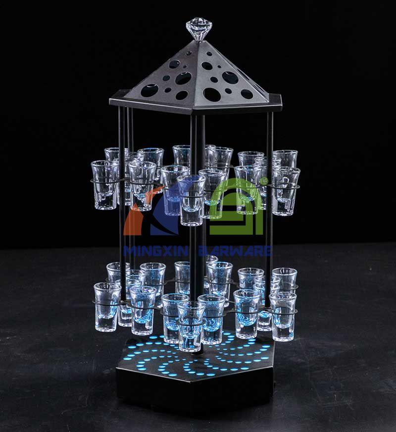 Birdcage Shape Rotate LED Shot Glass Serving Tray