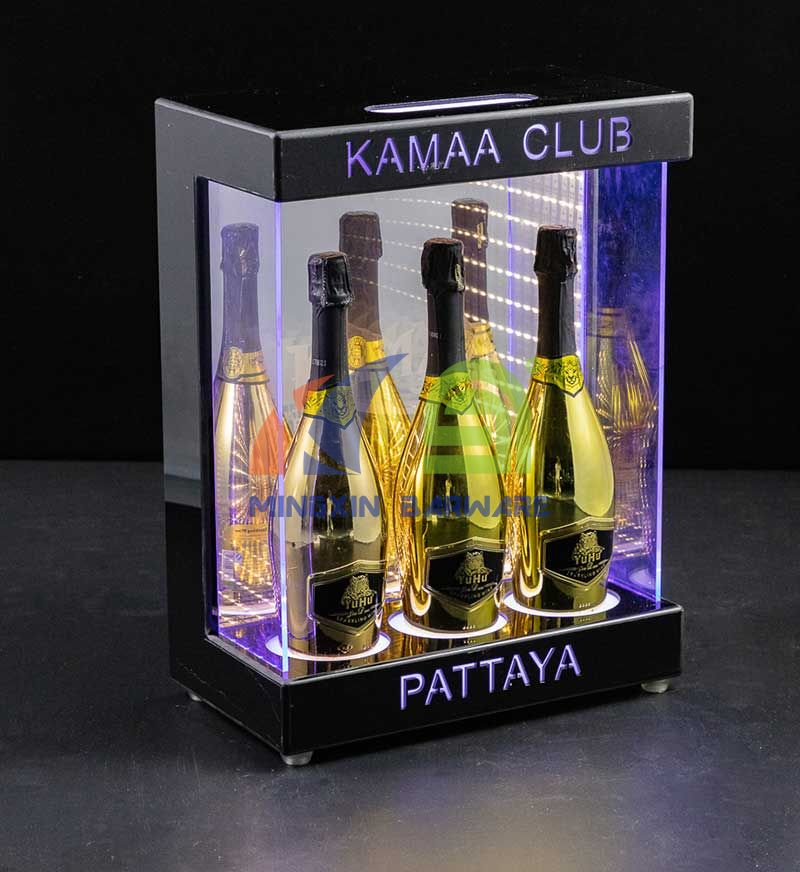 Three Bottle Bottle Cabinet with Infinity Mirror