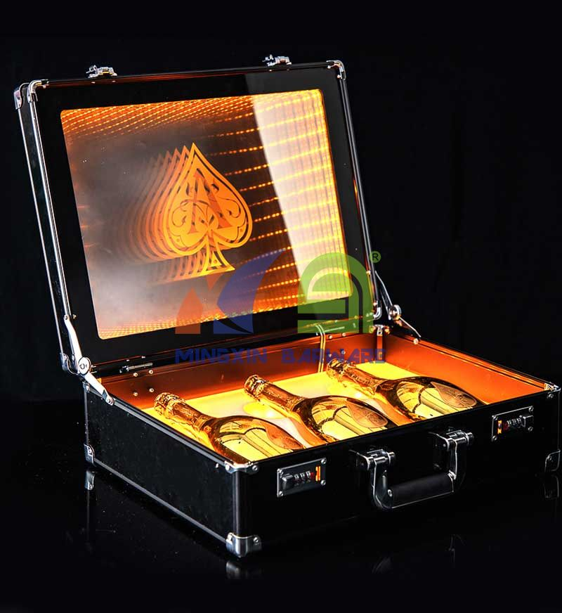 Three Bottle Champagne Case and Carrier with Infinity Mirror