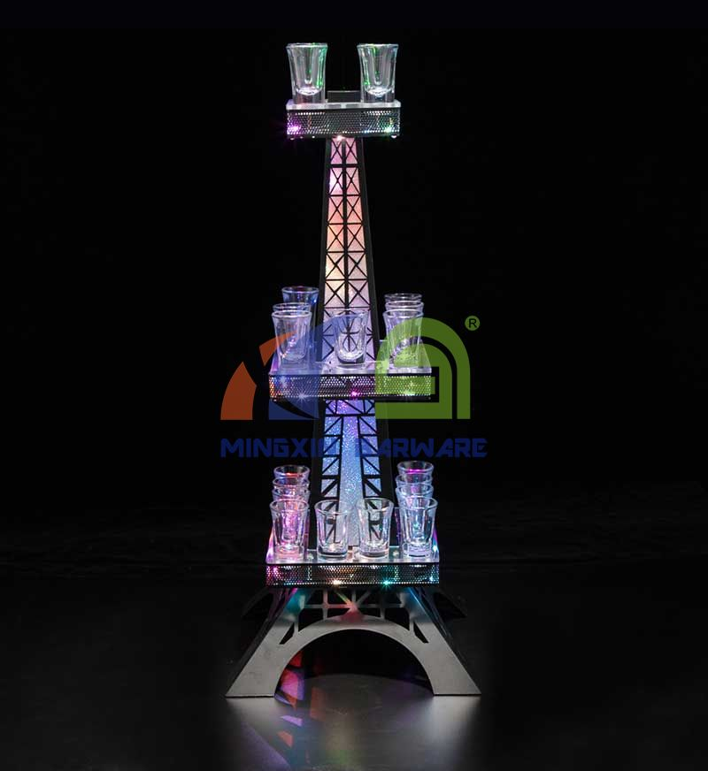 LED Eiffel Tower Shot Glass Serving Tray for 24 Shots