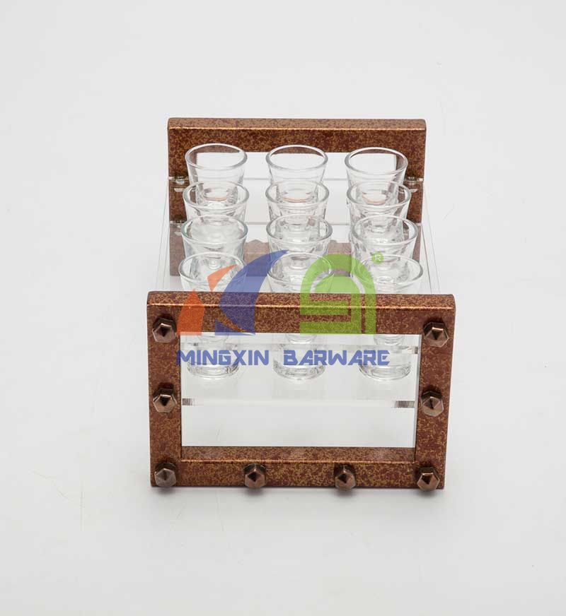 Antique Rusty Feeling Shot Glass Serving Tray for 24 Shots