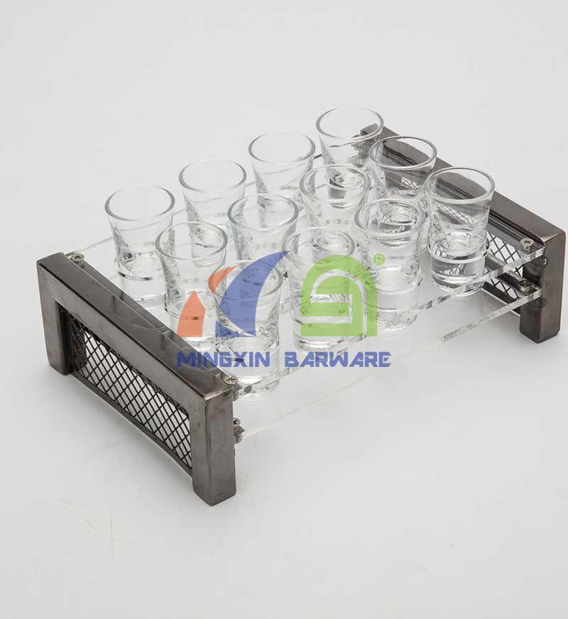 Iron Bar 24 Shot Glass Serving Tray